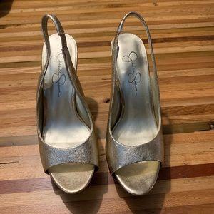 Jessica Simpson gold peep toe sling back heels 7.5